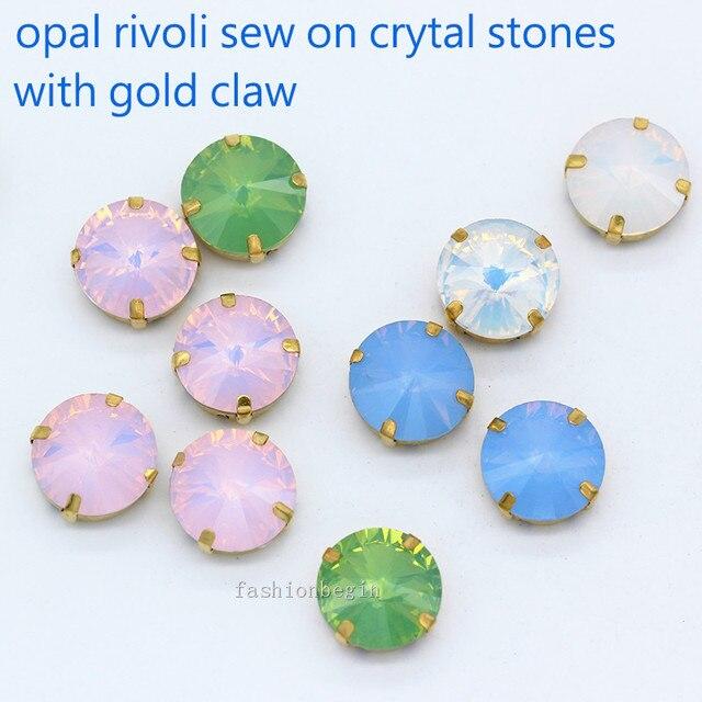 9p 16mm 18mm round rivoli white opal sew on crystal glass flatback  rhinestones gold 4 hole bdc031d58904