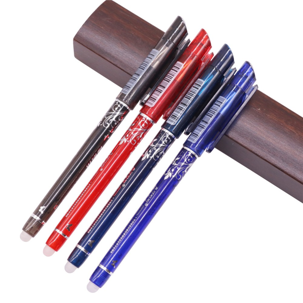 144 pcs 0.5mm Erasable Pen Liquid-Ink Full Needle Tip Gel Pen Crystal Blue Black Red Ink Blue Refill Student stationery Pens