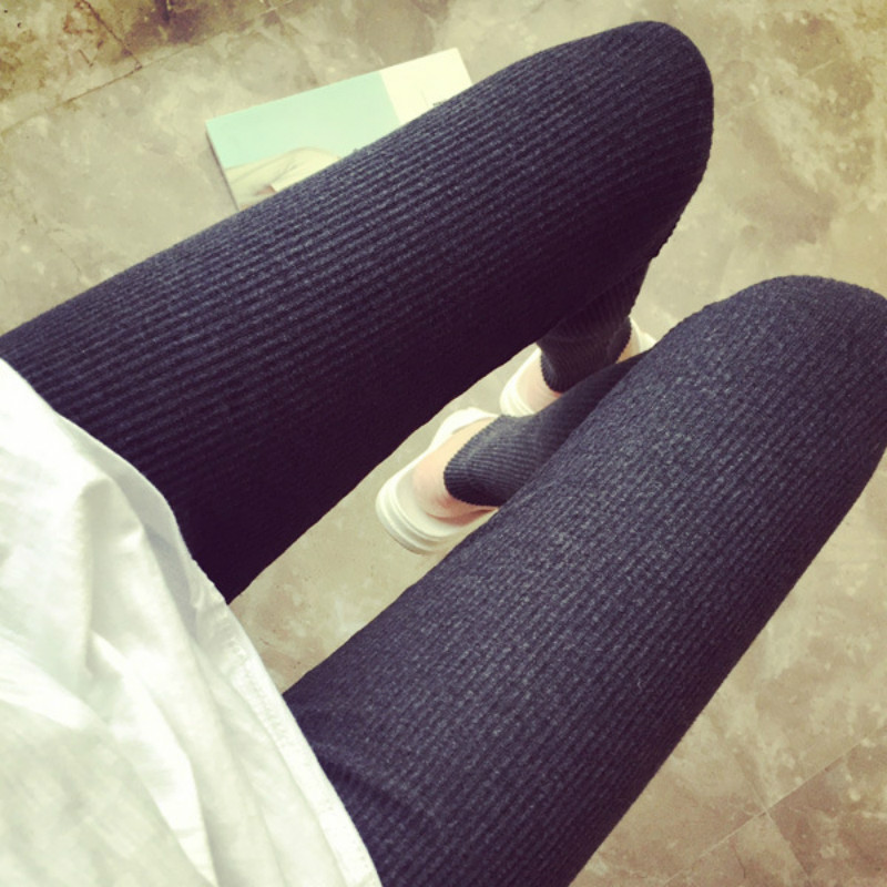 Autumn Winter   Leggings   Women High Waist Fitness   Leggings   Slim Ninth Pants Thin   Leggings