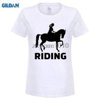 GILDAN Funny Hip Hop Printed Funny Horse Riding Funny T Shirt For Women