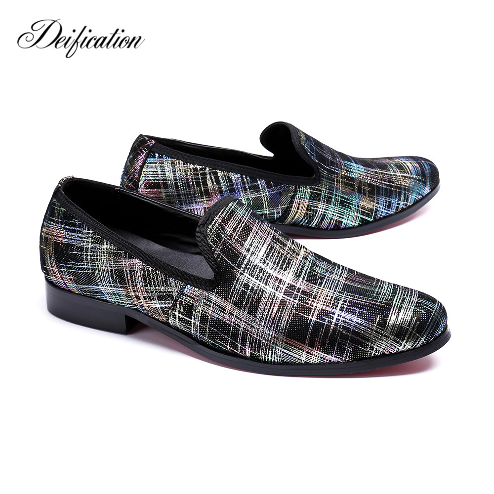 Plus Size 47 Printed Split Leather Men Loafers Italian Handmade Casual Mens Dress Shoes Classic Slip On Motorcycle Men's Flats