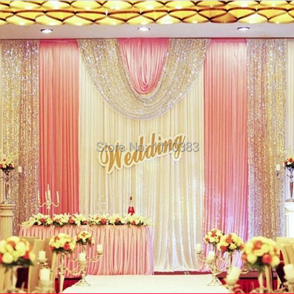Buy 3m high x6m long luxury white and for Backdrops wedding decoration