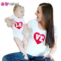 "chifuna Fashion Family Matching Outfits ""LOVE"" Heart Pattern Mum T-shirt Baby Romper Summer Mother Baby Clothes Family Look"