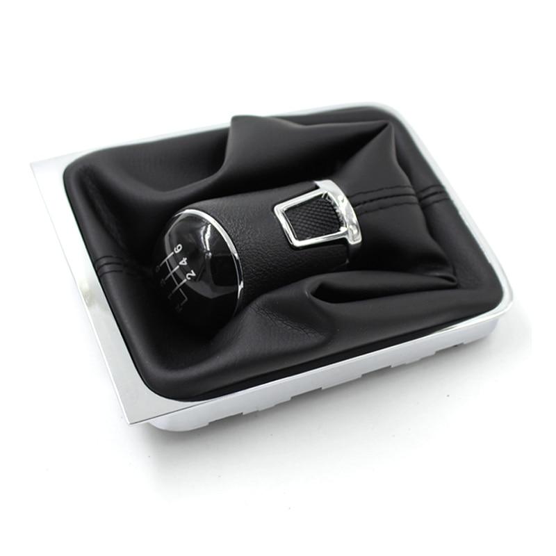 Docooler 6 Speed Shift Gear Knob Boot Gaiter Frame for VW Passat B6 Black
