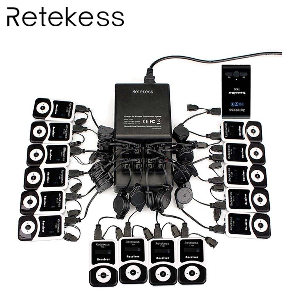 RETEKESS Sistema di Guida Senza Fili Audio Microfono Sistema di Traduzione in Lingua Per Culto Silenzioso Conferenza Del Museo di Guida