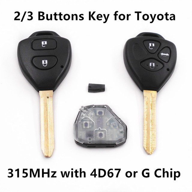Remote Car Key 315MHz for TOYOTA Camry Reiz Corolla Prado RAV4 Vios Keyless Entry Controller with4D67 or G Chip