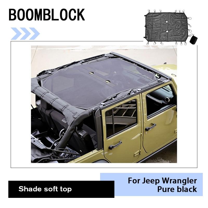 Auto Noir Pare-Soleil de Maille Pleine Top Soleil UV Protection Couverture Pour Jeep Wrangler JK 2017 2016-2007 4 porte De Voiture Styling Accessoires