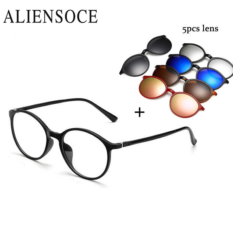 Clip magnético de 5 lentes Gafas de sol Clip espejado Clip de gafas de sol magnéticas en gafas Hombres Clip polarizado Prescripción personalizada Miopía