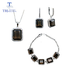 TBJ,49.6ct natural smoky quartz gemstone jewelry set in 925 silver ,classic design gemstone jewelry for women with gift box