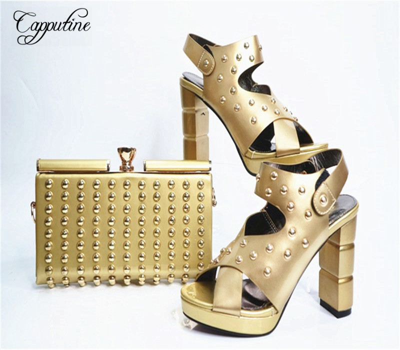 Capputine Italian Style PU Leather With Rivet Shoes And Bag Set African Desgin Woman Shoes And Matching Purse Set For Party G27 capputine new italian woman pu leather shoes and shopping big bag set african fashion high heels shoes and bag set for party