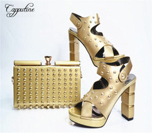 Capputine Italian Style PU Leather With Rivet Shoes And Bag Set African Desgin Woman Shoes And