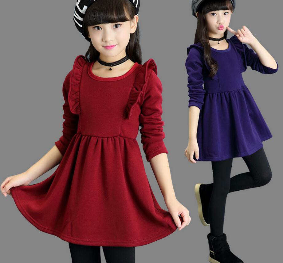 Brand Girls Winter Warm Dress Girls Beautiful Long Sleeve Thick Princess Perform Party Fashion School Dress Hot Sale HW0004 original brand lalaloopsy dress yarn design false two dumbo sleeve queen girls party striped dress school girls princess dress