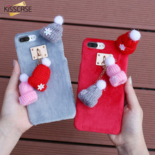 KISSCASE gorro de Navidad fundas suaves de felpa para iPhone 11 Pro Max XR X XS Max 6 6S 7 funda de regalo para PC 8 Plus(China)