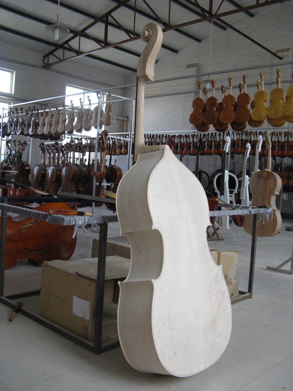 Yinfente Upright Double Bass 3/4 White Unfinished Solid Maple Spruce Wood Hand Made 001202 4 string black 3 4 new electric upright double bass finish silent powerful sound