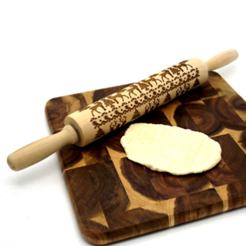 Hot Sale Christmas Rolling Pin Engraved Carved Wood