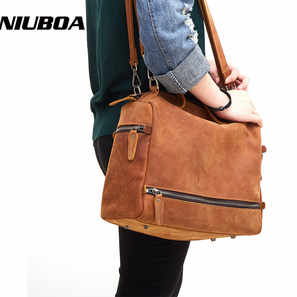 NIUBOA Genuine Leather Bag For Women Vintage Natural Leather Handbag Real Cowhide Crossbody Shoulder Bags Travel Laptop Bag Tote niuboa soft genuine leather women tote bag leather vintage brand work handbag new euro women bucket bag elegant shoulder bags
