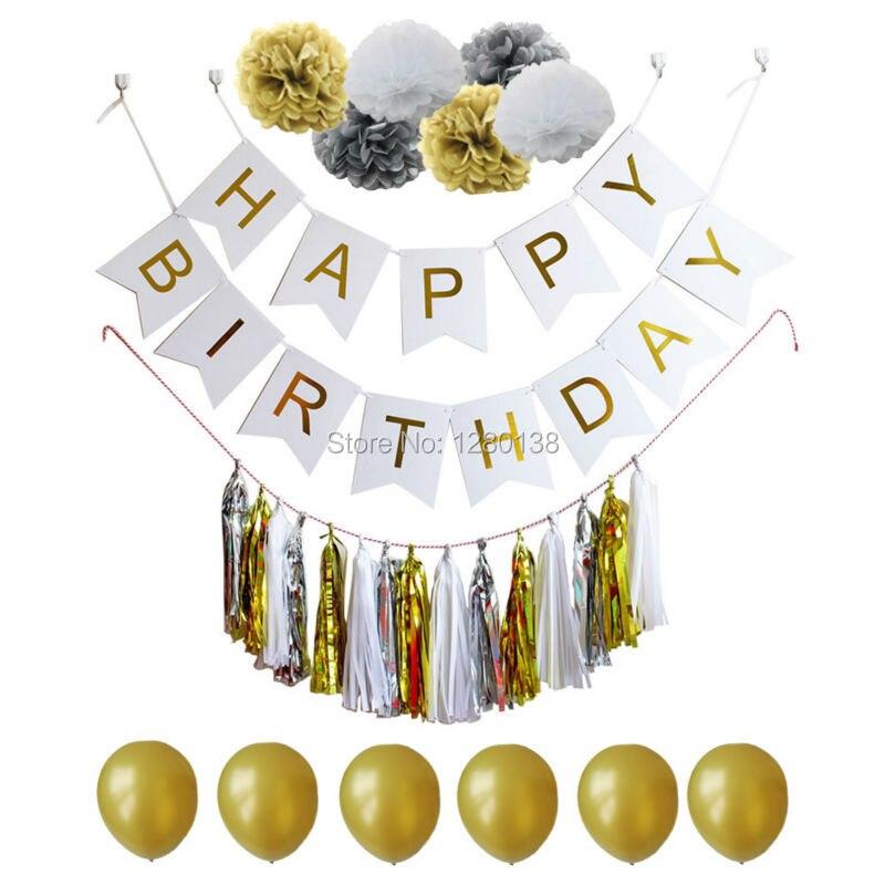 Azul blanco y oro papel de seda de la borla Garland Pompoms Fiesta - Para fiestas y celebraciones - foto 4