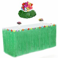 Hot Tableware Decorative Set Hawaiian Tropical Event Party Supplies Colorful Flower + Turtle Leaf + Artificial Grass Table Skirt
