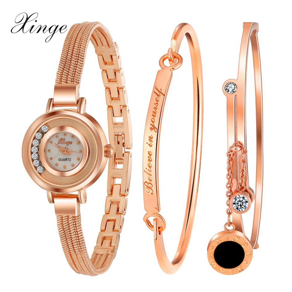 Xinge Fashion Brand Popular Watch Women Believe In Yourself Bracelet Crystal Wristwatch Set Girls Gift Clock Women 2018 Watches бра odeon light kamun 2843 1w