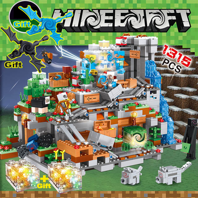 1315PCS My World Minecrafted Set Figures The Cave Dragon Enderman Village Building Blocks Bricks Toys Compatible Legoingly 21137(China)