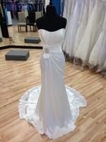 BRITNRY Elegant Simple Wedding Gowns Strapless Sheath Beach Wedding Dress Plus Size
