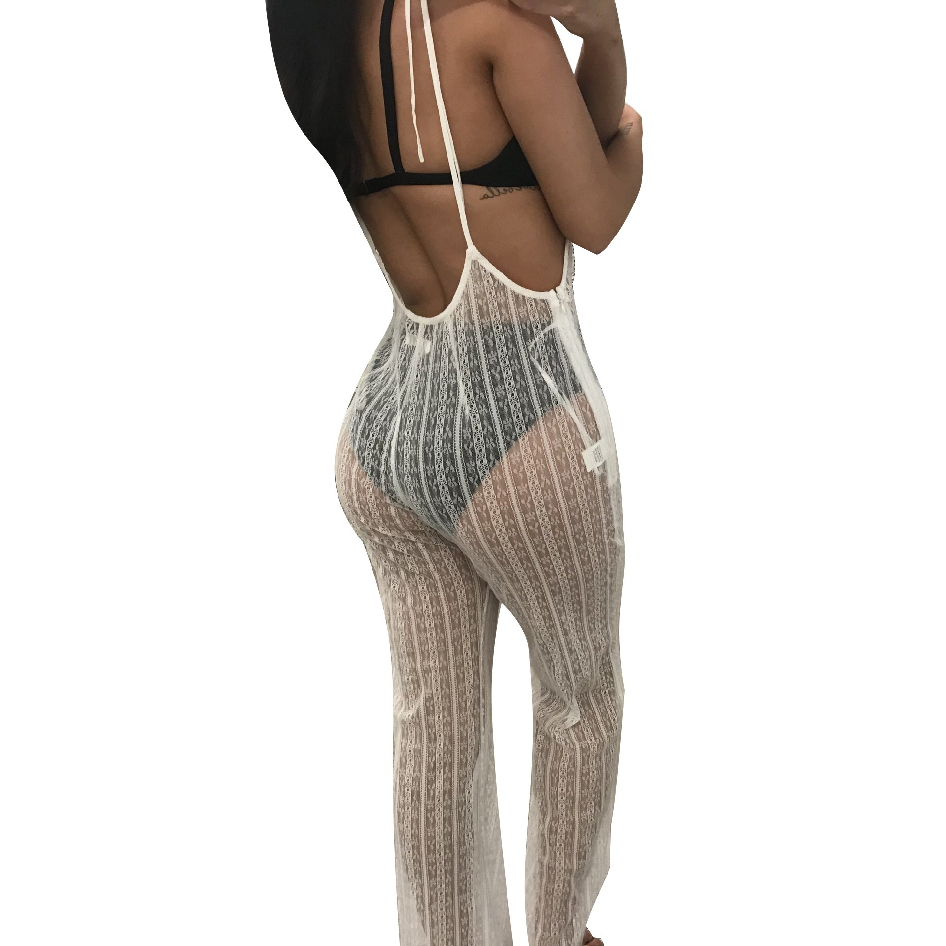 Sexy Sheer Black Lace Summer Jumpsuit Women 2018 Backless Strap Romper Clubwear Party Pants See Through Rompers Womens Jumpsuit