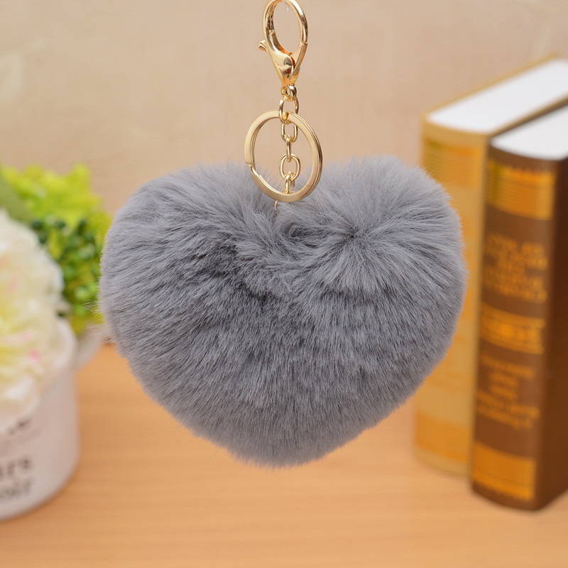 ZOEBER Keychain heart Pompom Key Chain Fluffy gold Rabbit Fur Ball Car Bag Pompon Key Ring Pom Pom KeyRings Jewelry Women female pom pom ball applique rabbit print pullover