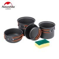 NatureHike Outdoor Cookware Camping Non Stick Tableware For Picnic Bowl Pot Pan Set Aluminum Alloy Utensils