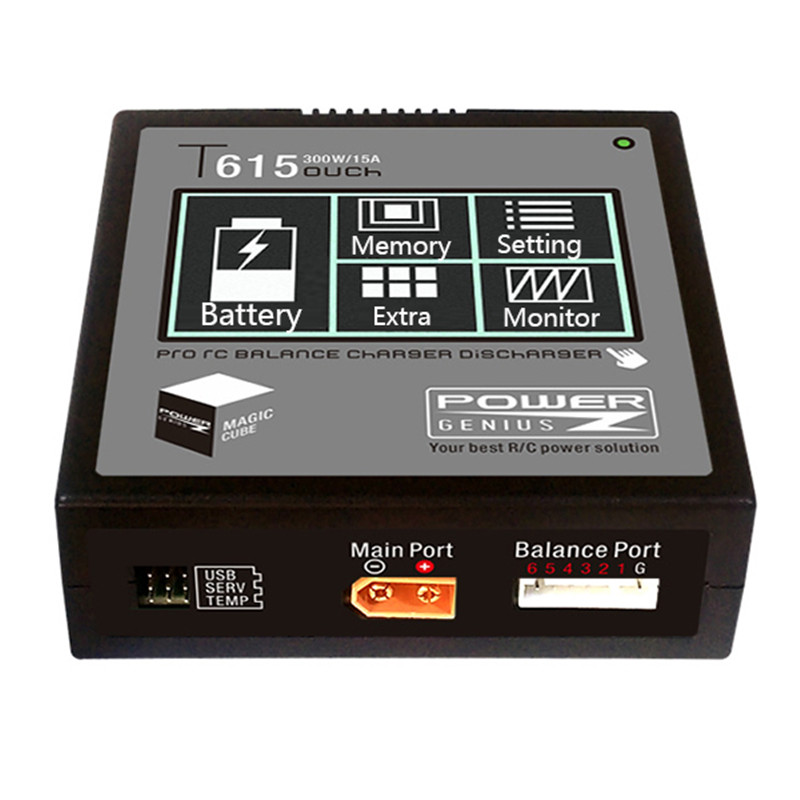 PG T615 300W 15A Lipo Battery Balance Balancing Charger Discharger Touch Screen Support 4.35 LiHV Battery for RC Models Charging 1s 2s 3s 4s 5s 6s 7s 8s lipo battery balance connector for rc model battery esc