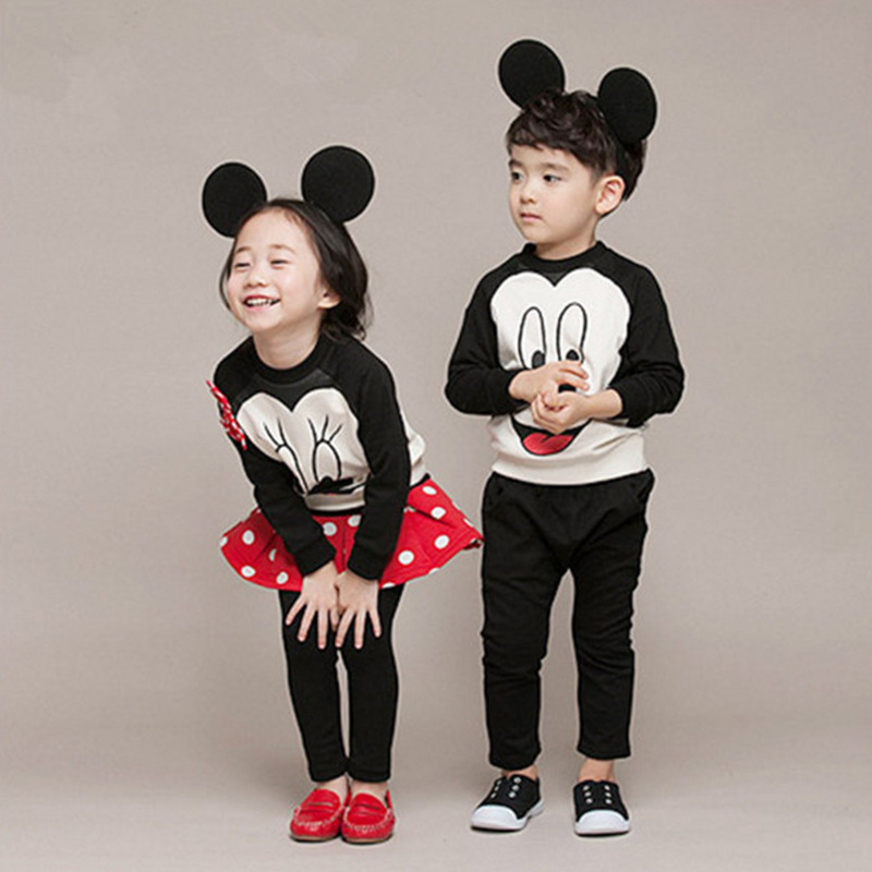 Spring Autumn Baby Girls New Round Collar Printing Mickey Head Boys Fashion Cartoon Cotton Long Sleeve Sweater+ Pantskirt Suit недорго, оригинальная цена