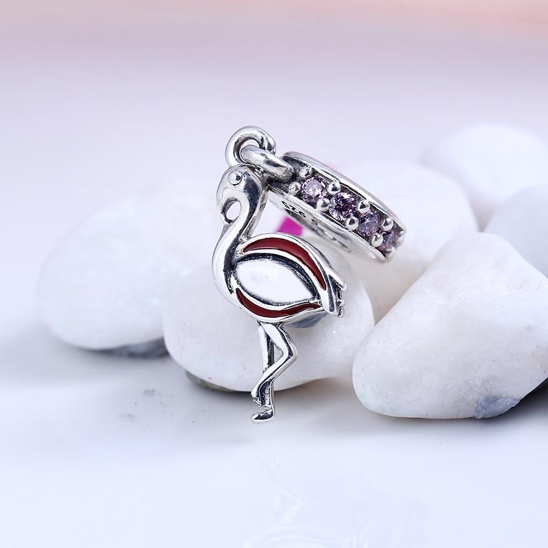 100% 925 Sterling Silver Fit Original Pandora Bracelet flamingo pendant charm DIY CZ Charm Beads for Jewelry Making