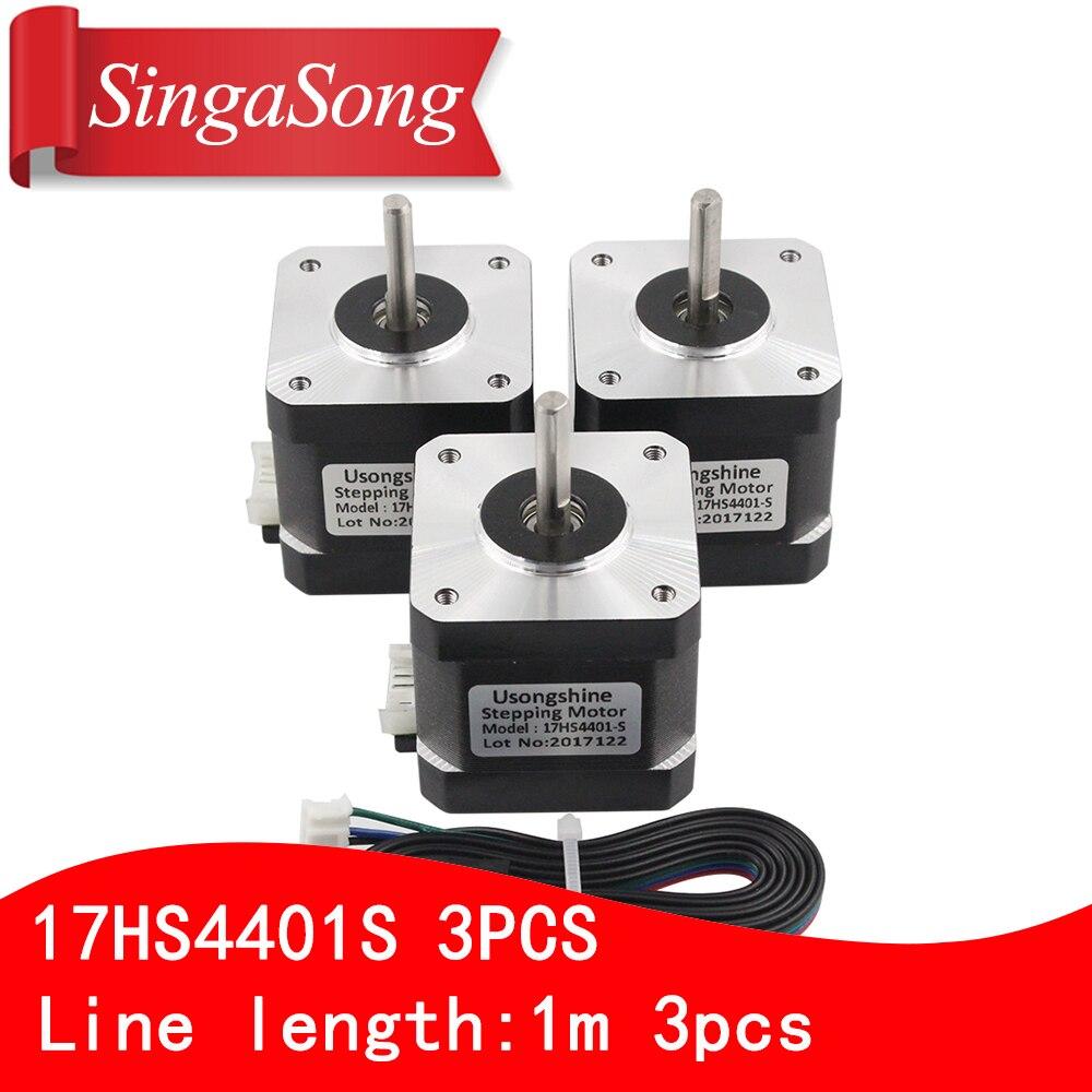 цена на 3pcs/lot.3D printer motor 4-lead Nema17 Stepper Motor 42 motor Nema 17 motor 42BYGH 1.7A (17HS4401S) motor for CNC XYZ