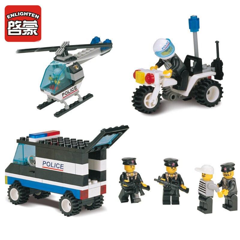 ENLIGHTEN 466pcs City Police Station Building Blocks 3D Model Assembling Bricks Playmobil Blocks Brinquedos Toys For Children