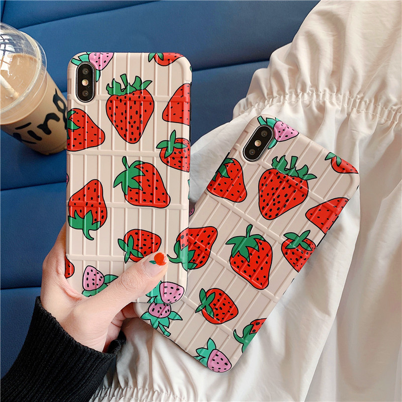 DECOCASE Cute Koarean Strawberry 3D Lugguage Stripped Style Phone Cases for iPhone 6 6s 7 8 Plus X XR XS Max Cover for iphone 6s