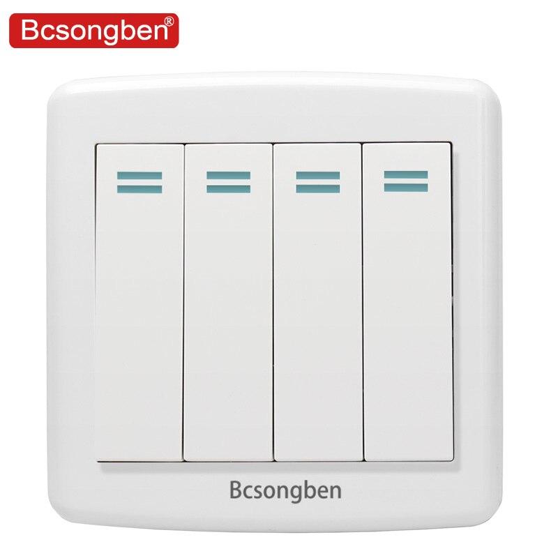 Bcsongben International Standard Pop Switch Wall Light Switch Luxury White Pc Pannel 4 Gang 2