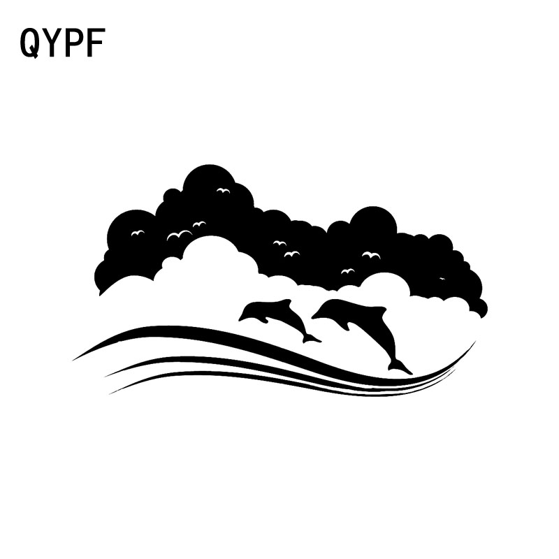 QYPF 17.9cm*12.3cm A Porpoise Rolling In The Water Up And Running High-quality Vinyl Car Sticker Decal Black/Silver C18-0171 ...