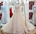 2016 Vestido De Noiva Real Photo Wedding Gown With Sleeve Royal Train Sheer Neck Crystal Lace Luxury Vintage Wedding Dress