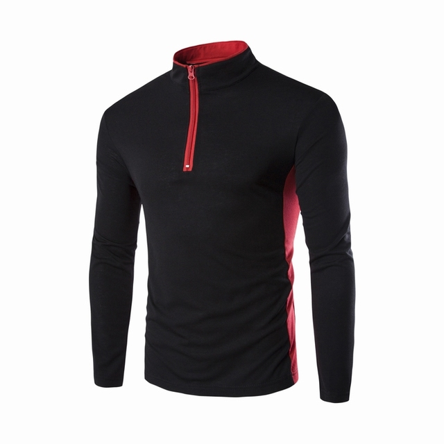 Polo Shirts For Men Long-Sleeved Slim Casual Sportmen Top Tee Slim Fitness Stand Collar Long Sleeve Male Clthing High Quality