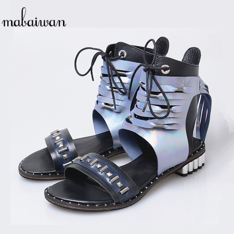цена на Mabaiwan Blue Women Shoes Genuine Leather Summer Sandals Flats Beach Shoes Woman Fringed Zipper Gladiator Hollow Out Slippers