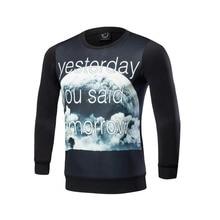 New 2017 autumn winter fashion men hoodies 3 d printing planet crewneck male crime