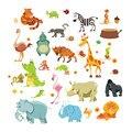 Animales de la selva Pegatinas de Pared para Cuartos de Los Niños Mono Elefante Caballo Safari Salas de Lactancia Del Bebé Home Decor Poster Tatuajes de Pared