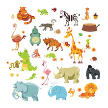 Jungle Animals Wall Stickers for Kids Rooms Safari Nursery Rooms Baby Home Decor Poster Monkey Elephant Horse Wall Decals(China)