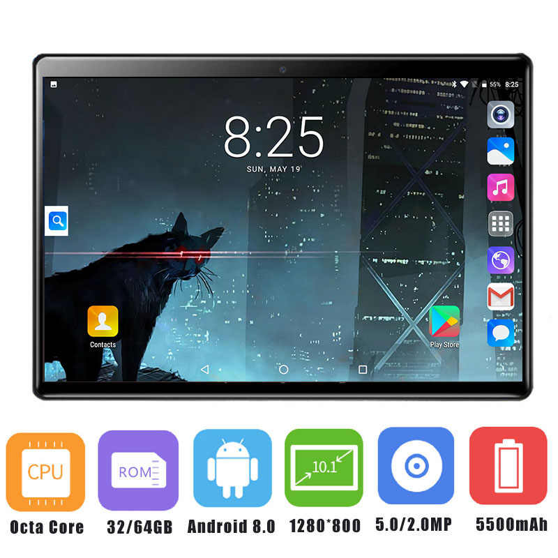 2019 Newest 10 inch Tablet PC 3G 4G LTE Octa Core Android 8.0 OS 4GB RAM 64GB ROM 5.0MP 2.5D Tempered Glass Android Tablet 10.1