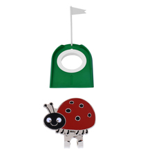 купить Golf Putting Green Hole Cup & Hat Clip Putt Practice Training Aid Equipment Tool Ladybug Ball Mark дешево