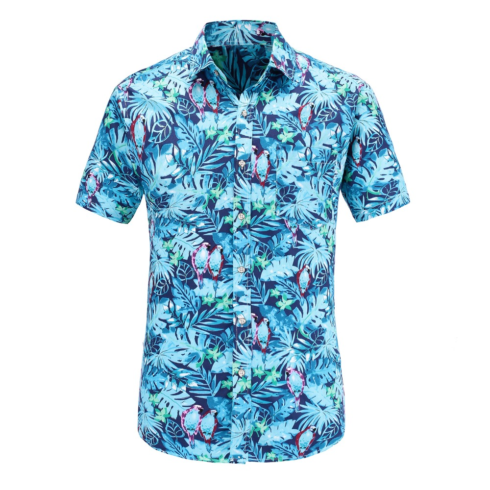Dioufond Short Sleeve Hawaiian Casual Shirt Male Fit Summer Pattern Flamingos Cotton