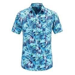 Dioufond короткий рукав для мужчин рубашка Гавайский Мужская рубашка в стиле кэжуал Fit Лето узор рубашки для мальчиков Фламинго хлопок Мужская