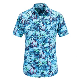 Dioufond Short Sleeve Men Shirt Hawaiian Casual Shirt Male Fit Summer Pattern Shirts Flamingos Cotton Mens Dress Shirts Plus Casual Shirts