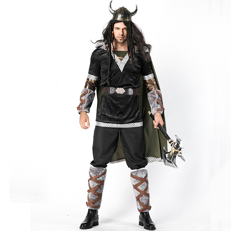 Adult Men's Fearsome Viking Warrior Cosplay Historical Costume