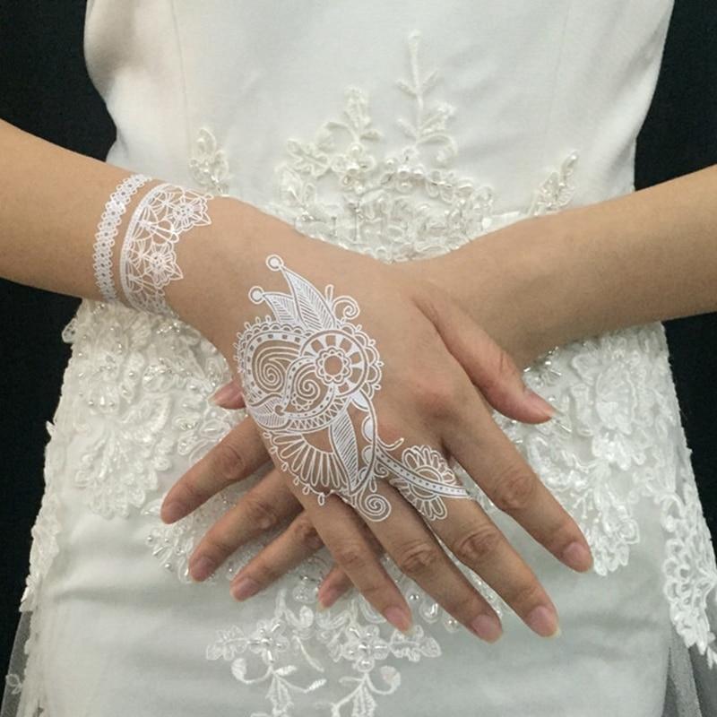 1 ცალი თეთრი Henna მაქმანი ტატუ სტიკერები, ყვავილი Henna თეთრი საქორწილო დროებითი წყალგაუმტარი ტატუები დიზაინი სტიკერი სამკაულები ხელოვნება