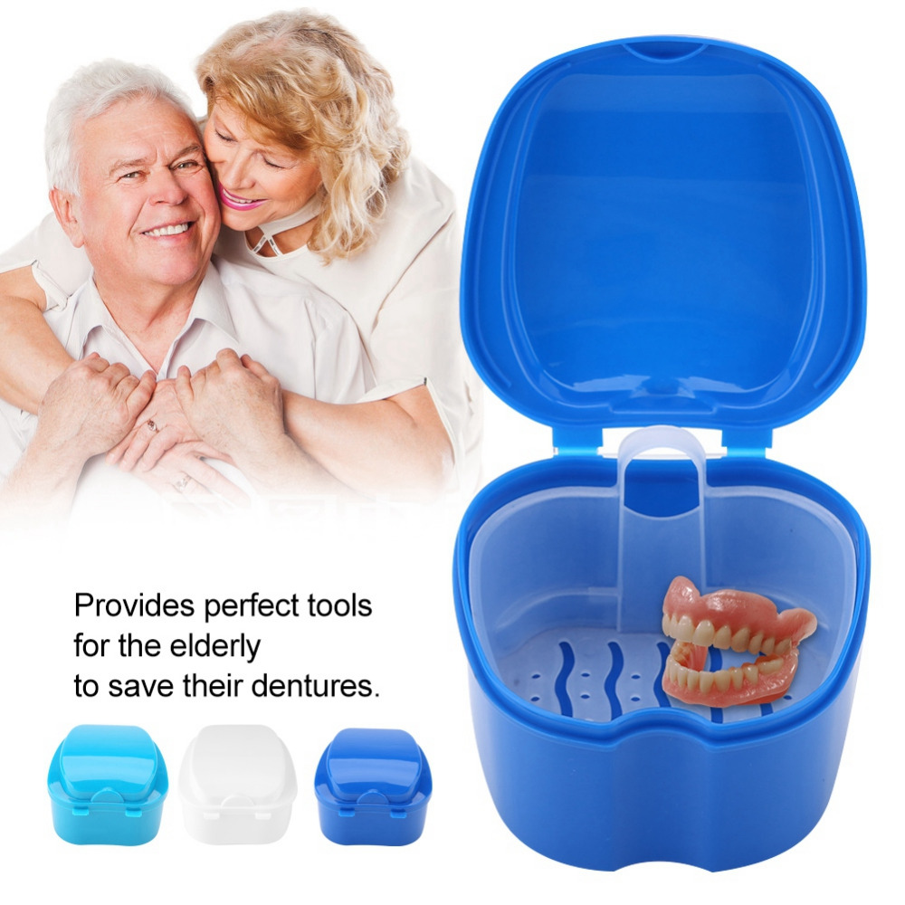 new denture bath boxes case makeup organizer false teeth storage box cases dental containers with filter screen dental appliance